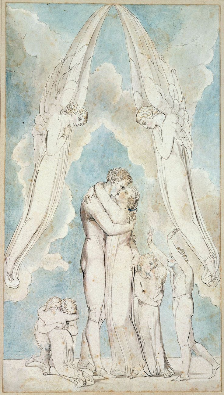"William Blake: 'The Meeting of a Family in Heaven', from Robert Blair's ""The Grave"", 1805, object 17. Pen, ink and water colors over traces of pencil on wove paper. Winterstein Collection, Munich, Germany"