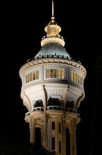 Margaret Island water tower at night - Budapest, Hungary