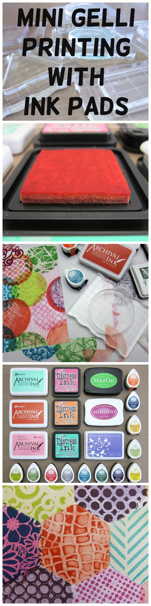 Mini Gelli® Stamping with Ink Pads! The NEW Mini Gelli® Printing Plates are perfect for stamping—and so much fun to print with! Simply remove the mylar cover sheets and press a Mini plate onto an acrylic block or smooth plastic sheet—and you're ready for stamping!