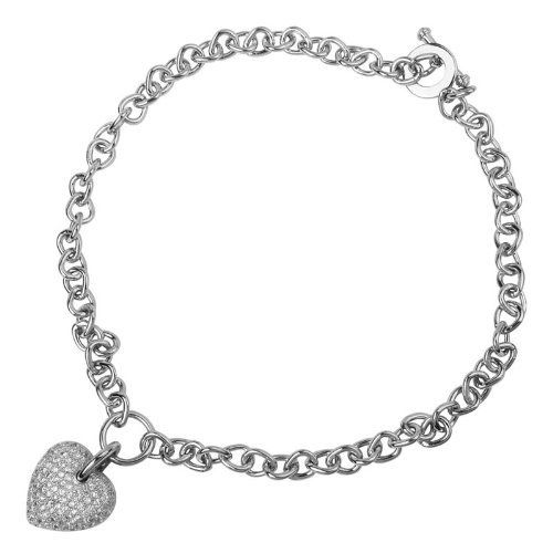 Fashion Cubic Zirconia Chain Link Puffed Toggle Heart Necklace Joolwe. $47.99. Save 58% Off!