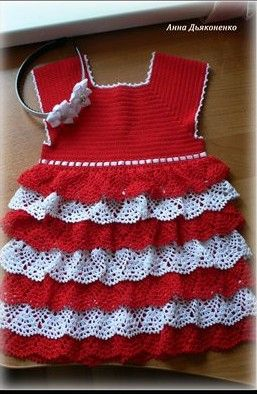 Summer dress with a yoke cascading lace skirt crochet for girls   Free pics and charts