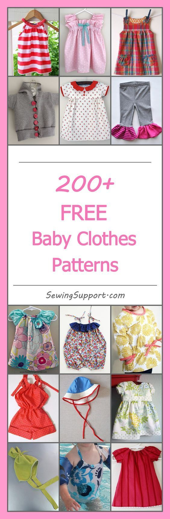 Lots of cute, free baby clothes patterns, tutorials, and diy sewing projects for boys and girls. Many simple, easy designs. Sew dresses, rompers, hats, booties, and more. #babyclothespatterns