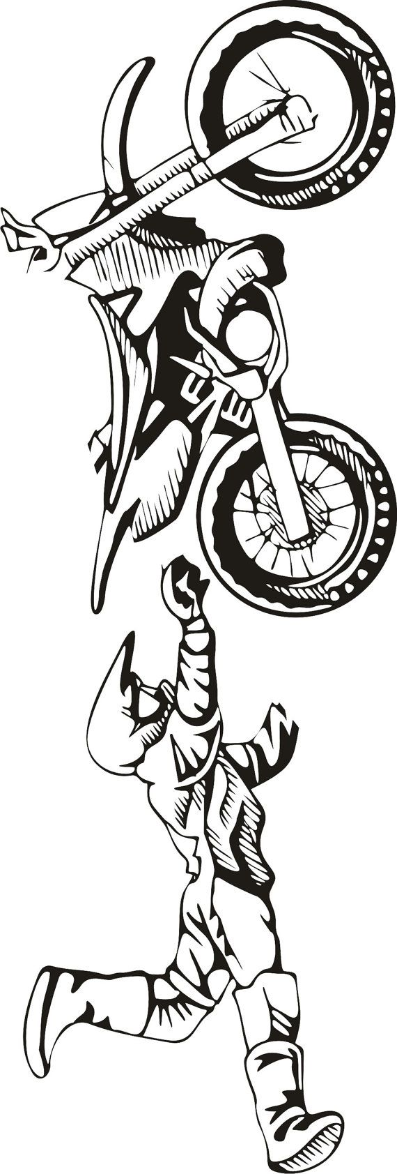 LARGE Motocross Vinyl Decal Wall Sticker Wall Tattoo by Tibi291