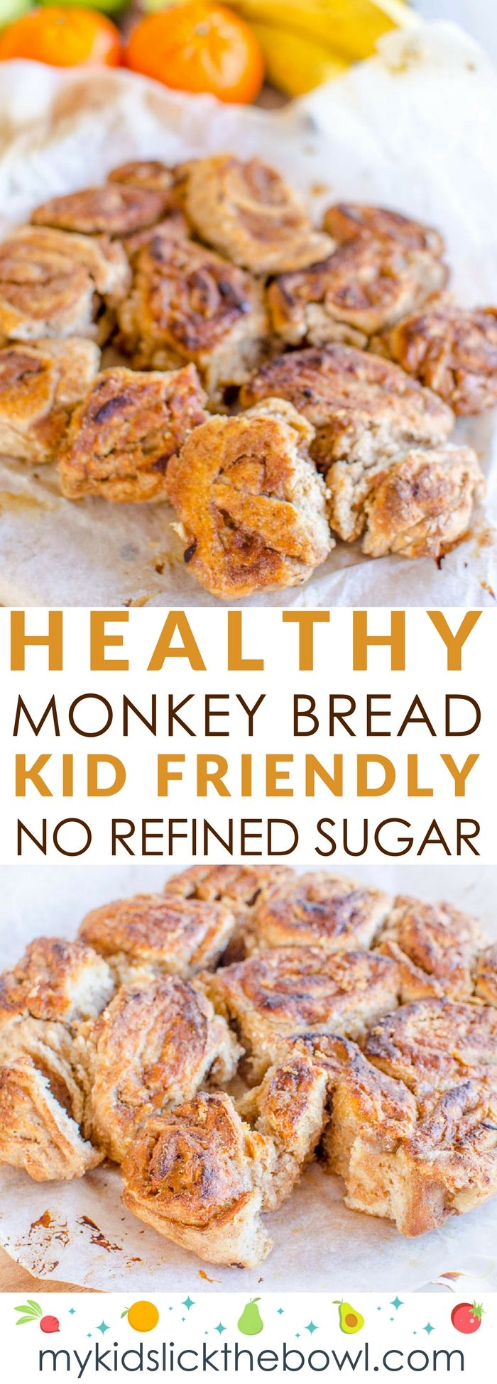 Healthy monkey bread recipe an easy refined sugar-free take on a classic, sweetened with fruit perfect kid friendly snack #monkeybread #sugarfree #healthykids #snack