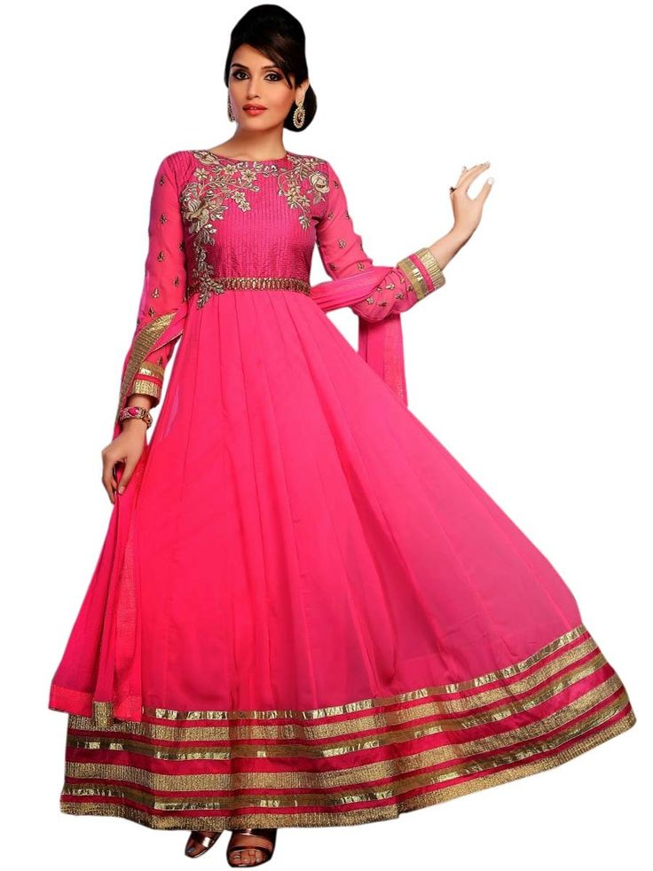 Impressive #pink color ankle length #anarkali #suit. Item Code: SLMG503