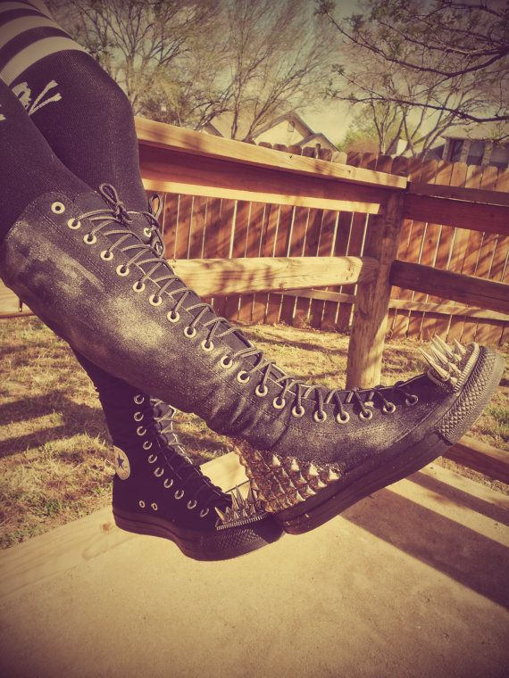Knee High Studded Spike Converse Chuck Taylor by kaylastojek, $150.00