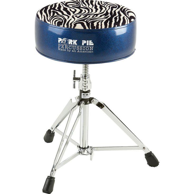 Pork Pie Round Drum Throne Blue with Zebra Top