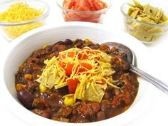 Skinny Taco Chili (Crock-pot or Stove-top) This NEW chili is so yummy and loaded with fiber! So versatile, serve in individual bowls and let everyone top their own, stuff a baked potato or top a salad. Each cup has 230 calories, 2 grams of fat and 6 Weight Watchers POINTS PLUS. http://www.skinnykitchen.com/recipes/skinny-taco-chili-crock-pot-or-stove-top/