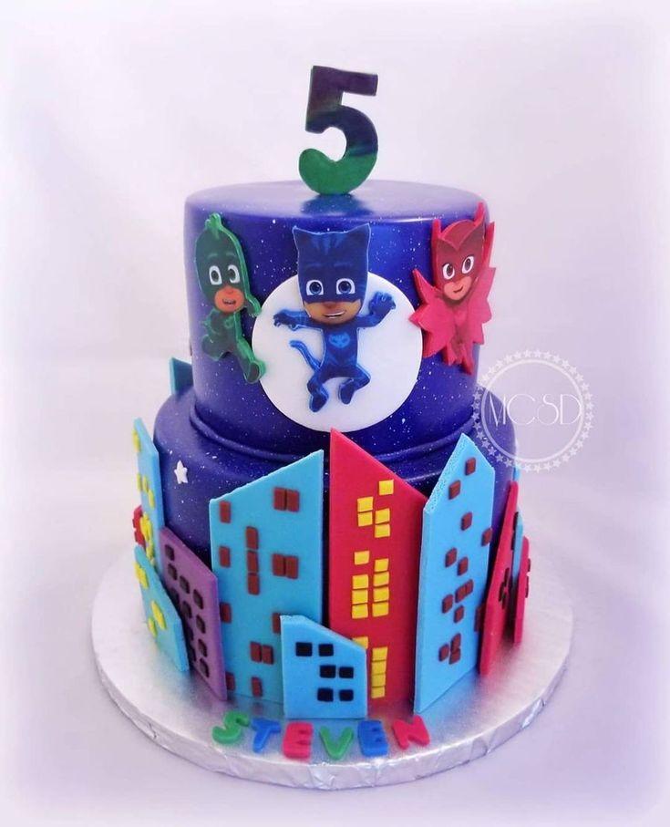 pj masks birthday cake 6''+8'' vanilla cakeedible image