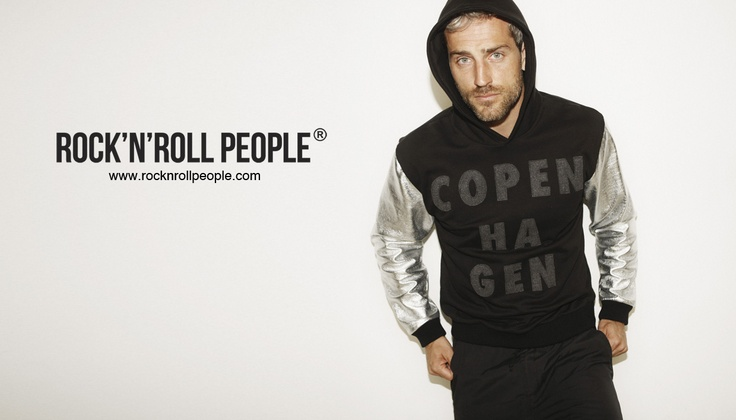 Danish celebrity model, Oliver Bjerrehus, wearing hoodie from ROCK N ROLL PEOPLE http://rocknrollpeople.com/shop/men/