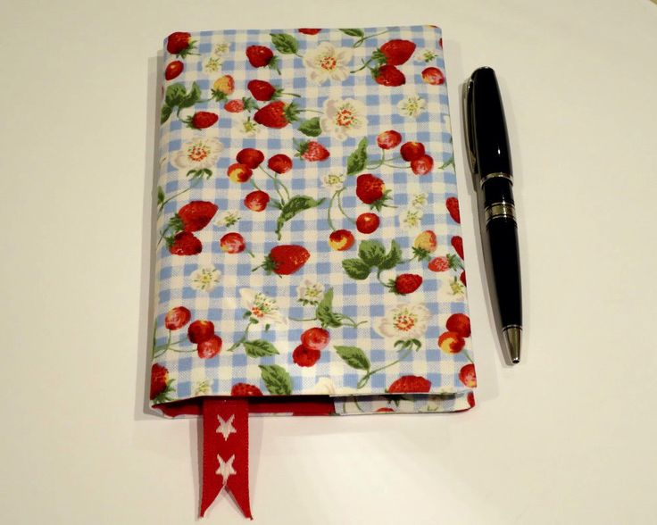 Fabric Book Cover with Bookmark, Suits A6 Notebook, Bonus Notebook Included, Berry and Blossom Fabric, Small Gift Idea, Cute Notebook by JadoreBooks on Etsy https://www.etsy.com/listing/269524265/fabric-book-cover-with-bookmark-suits-a6