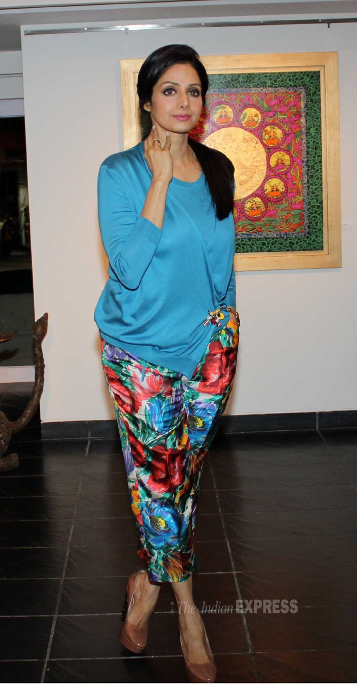 Sridevi dressed in floral print crop pants teamed with an elegant blue top.  #Bollywood