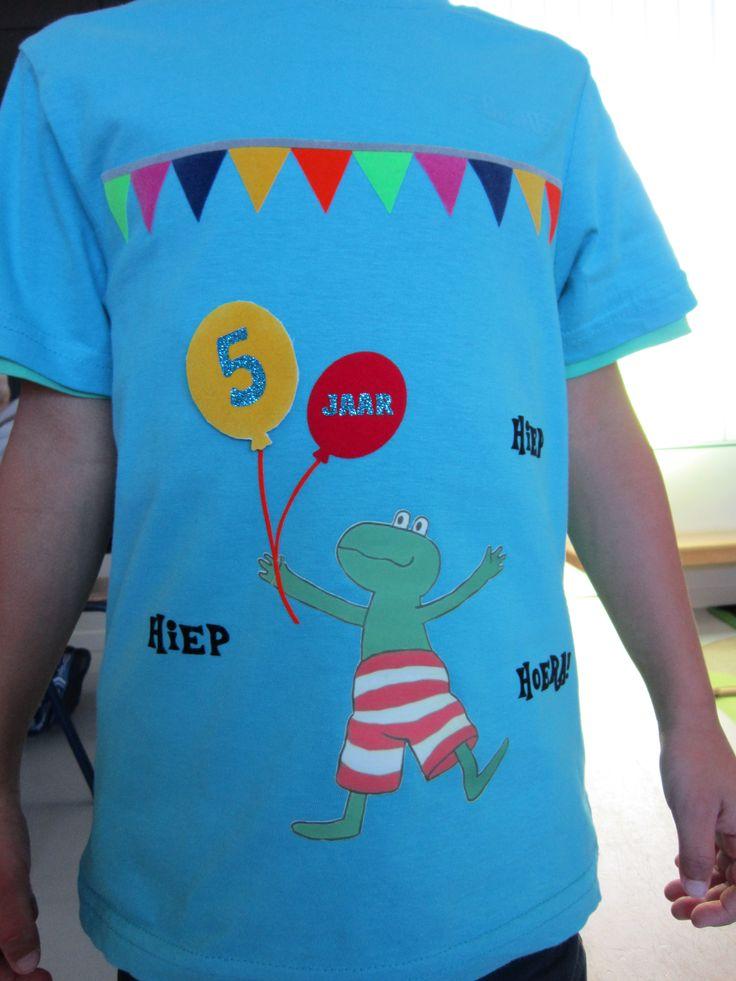 Verjaardagst-shirt voorkant (flockfolie en flexfolie) Ballon in het geel kan veranderd worden! (cijfer 5 of 6)