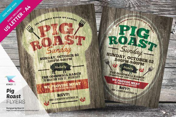 Pig Roast Flyer Templates By Kinzi21 On Creativemarket Flyer