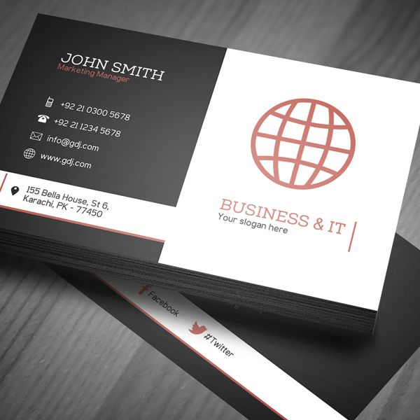 Corporate Business Card Template PSD View