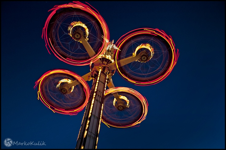 LaRonde Montreal - This image is a long exposure taken toward the end of the blue hour at the LaRonde amusement park in Montreal, Quebec Canada
