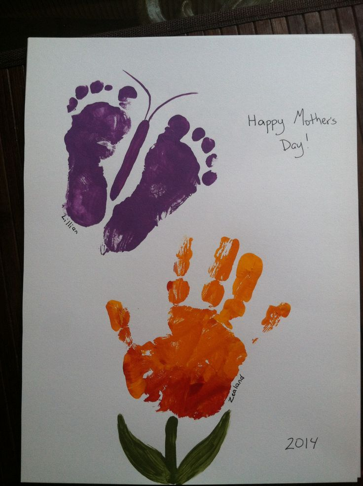 Hand print flower foot print butterfly family kids for Butterfly hands craft