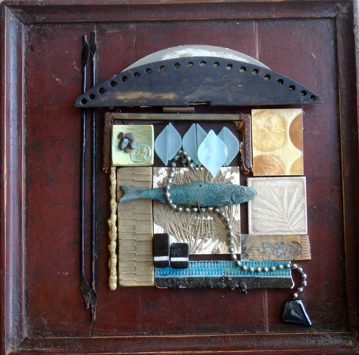 "New work 2016, Carolyn Machado, ""Retro Line"" assemblage on antique Chinese wooden tray."
