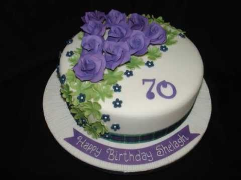 70th Birthday with Purple Roses Fondant Cake - YouTube