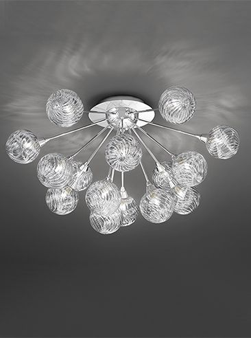 The Franklite Lighting Protea 15 Light Flush Ceiling Is In A Chrome Finish With Clear Glass Spheres Filled Finely Sprung Metal Coils