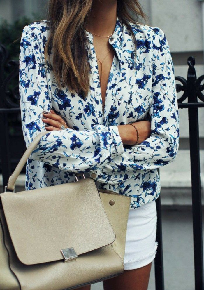 bluse mit blumenmuster kurze damenhosen große tasche