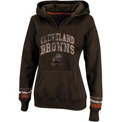 Cleveland Browns Ladies Preseason Favorite II Pullover Hoodie – Brown