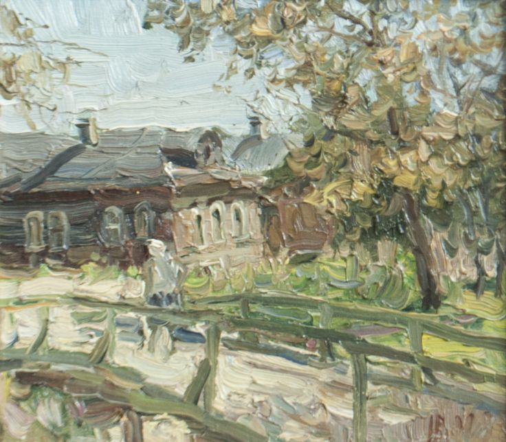 "Malanenkov Yuriy ""The bridge in Volochek"". Сanvas on carton, oil 24х27 cm 1998."