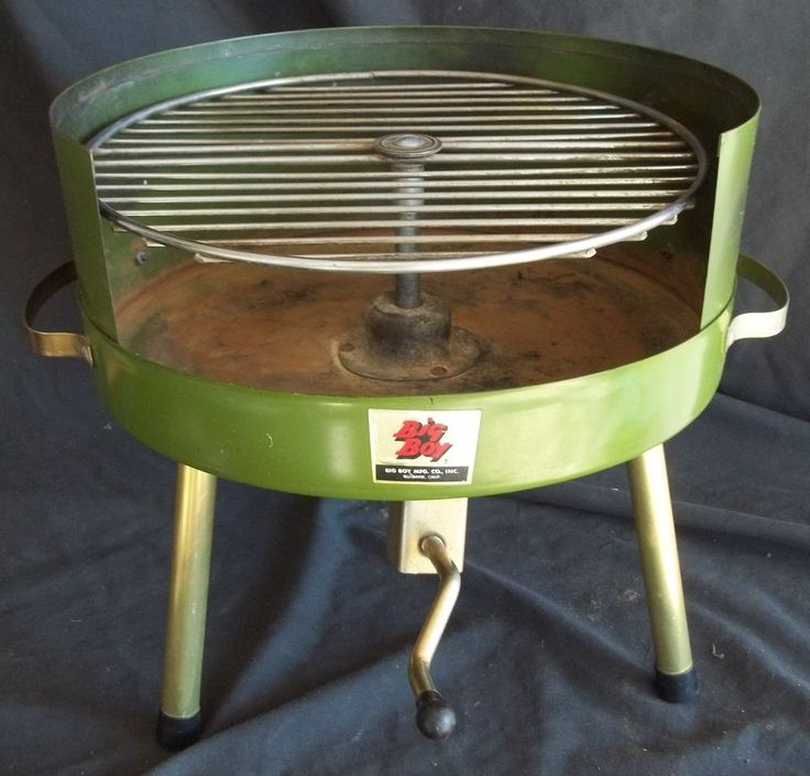 American Mid Century Modern Atomic Age Small Patio Round: Big Boy Portable Charcoal BBQ Grill Vintage Mid Century