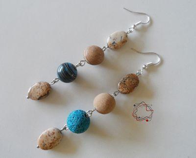 Lava, Garnet & Wood Earrings