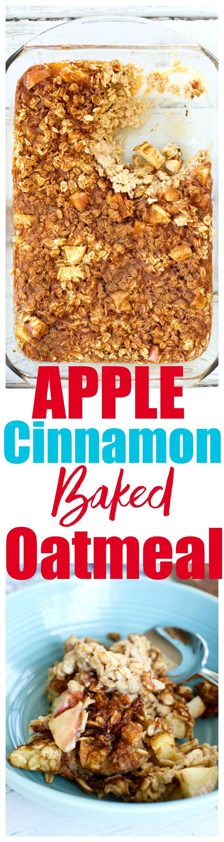 Apple cinnamon baked oatmeal recipe. This is an easy one-bowl recipe that makes a great healthy breakfast ideas! via @Maryea Flaherty