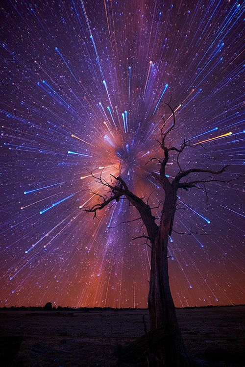 Australian outback night sky long exposure