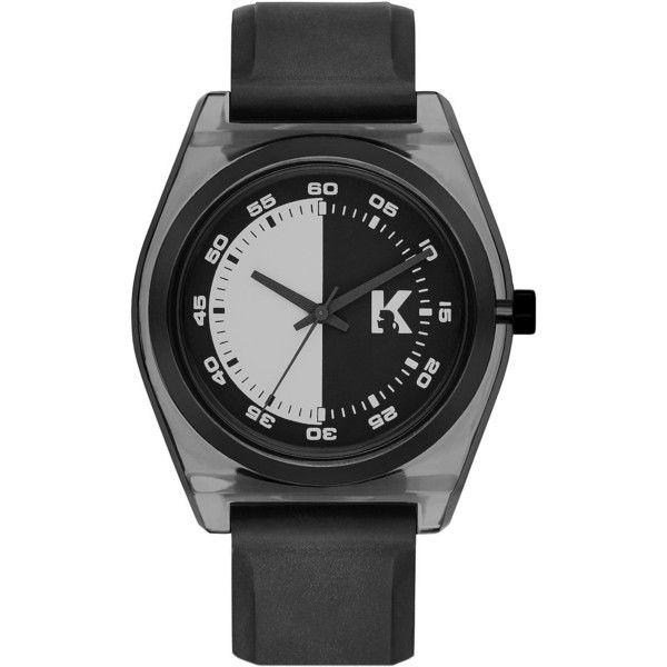 Karl Lagerfeld Graphik  and Nylon Watch ($62) ❤ liked on Polyvore featuring jewelry, watches, black, urban watches, karl lagerfeld, urban jewelry, karl lagerfeld jewelry and karl lagerfeld watches