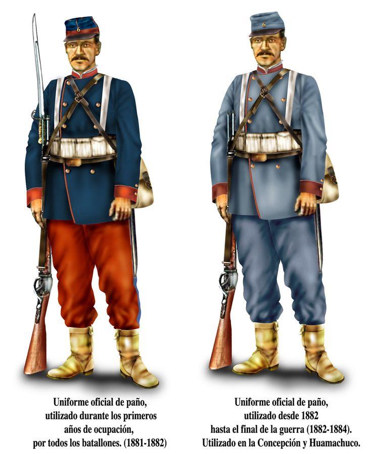 Sierra se dejó de usar el uniforme de brin. Sólo lo usaron las guarniciones de Tacna al sur, aparte de algunos batallones formados en el centro de Chile (como el Carampangue, Campo de Marte y otros). Aunque quedaron algunos de rojo y azul todavía, lo más común fue el gris completo. Parecían soldados del sur en la guerra de secesión. Chacabuco en Concepción  y el resto del ejército (incluyendo caballería) en Huamachuco.