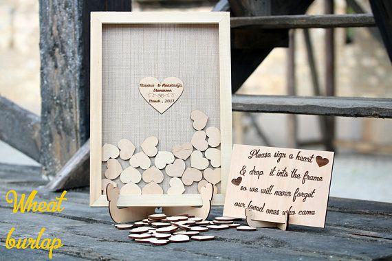 Jute bruiloft gast boek alternatieve gastenboek Drop top