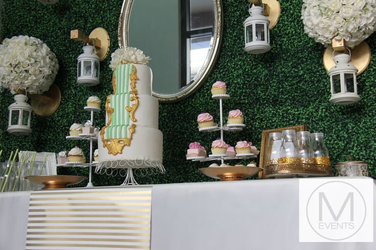 This vintage inspired entrance table is great for all occasions such as weddings,kitchen teas, bridal showers ,parties,dessert table and drink station. Green gold and white theme.For more information on products or your next event contact info@meventssydney.com.au