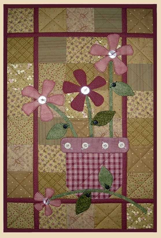 terra cotta wall quilt pattern flowers in vase apple patch designs