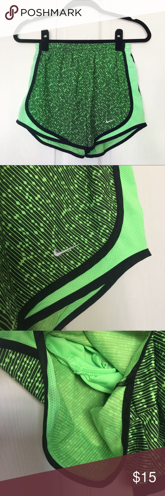 Nike Dri Fit Tempo Geometric Neon Green Shorts In excellent condition. No snags, tears or stains. Dri fit fabric. Elastic waistband with black waist ties. Built in undergarment. Perfect for running, other sports and outdoor activity. Even great for everyday wear!   MEASUREMENTS (laying flat) Waist: Waist to hem:   📮USE OFFER FEATURE TO NEGOTIATE 💰BUNDLE TO SAVE 🚫NO TRADES Nike Shorts