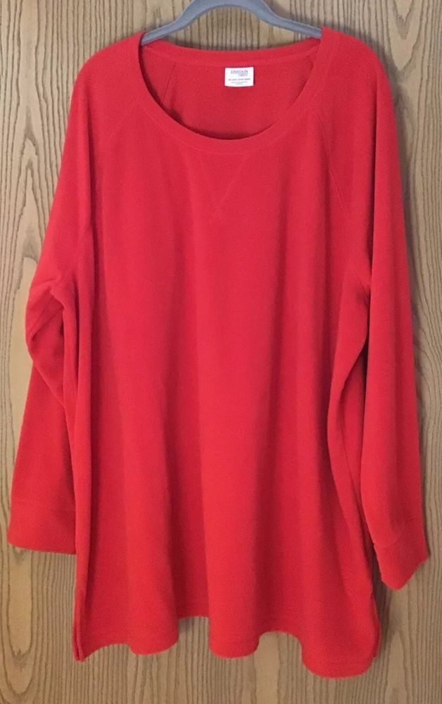 8af3cbcbe77 Danskin Now Womens Plus Size 4X Solid Red Long Sleeve Fleece Crewneck Tunic   fashion