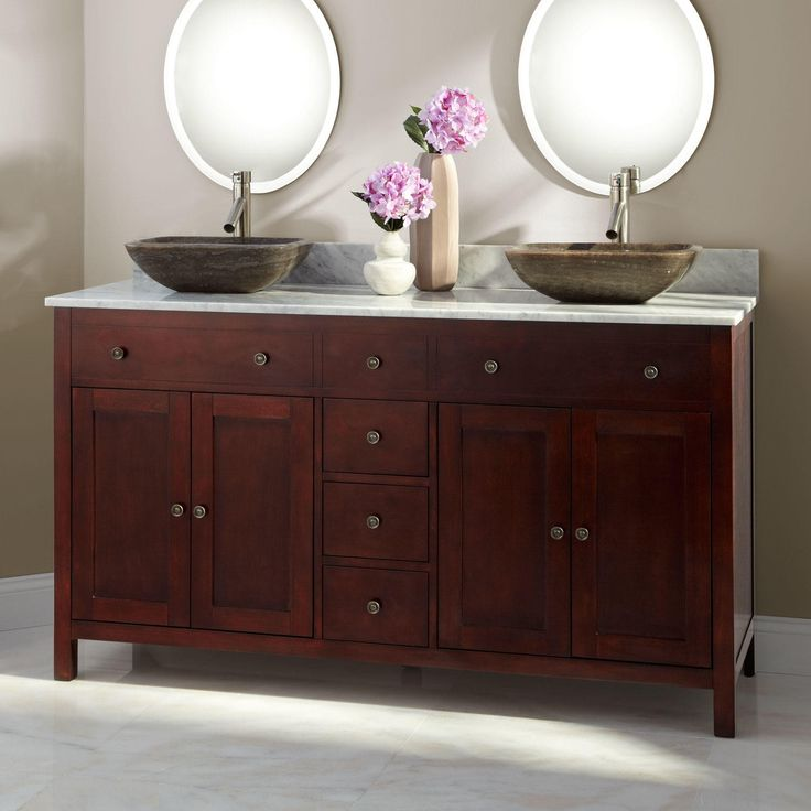 60 Quot Vargas Cherry Double Vessel Sink Vanity Gordon S