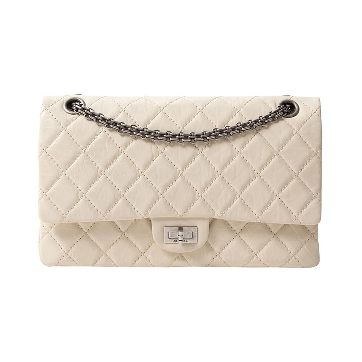 Chanel Snow White 2.55 Reissue | From a collection of rare vintage shoulder bags at https://www.1stdibs.com/fashion/handbags-purses-bags/shoulder-bags/