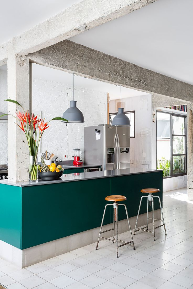 Deep green/teal kitchen cabinets