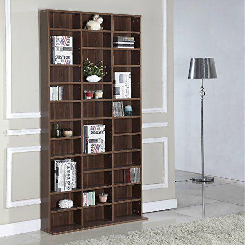 Homcom 1116 CD/528 DVD Storage Shelf Rack Media Storage Unit Shelves Racks Wooden Shelf Bookcase Display Unit Adjustable (Brown) by Homcom:…