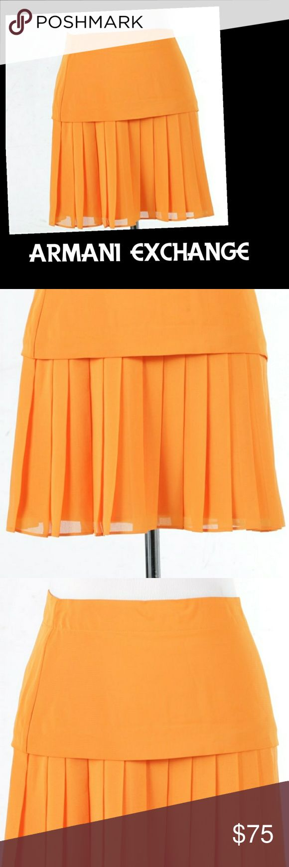 Armani Exchange Orange Skirt This size 2 pleated Armani Exchange skirt is, light, flirty, and perfect for summer.   Item is in good used condition.  Photos are of the item being sold. Armani Exchange Skirts Mini