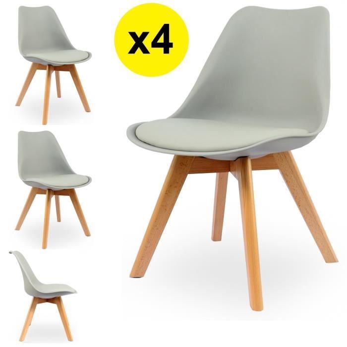 Lot De 4 Chaises Scandinaves Coloris Gris Clair Skagen Style