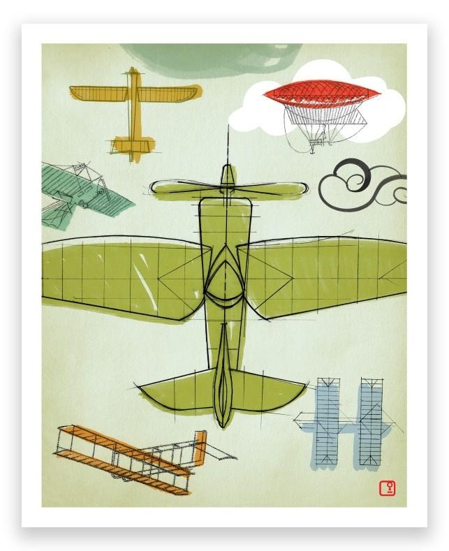 Flying Machines Aero Art Print