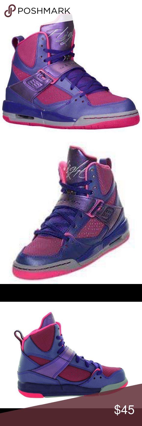 🔥🔥🔥Air Jordan Flight 45 high sneakers 🐻🦊🦁🐒 Use very good Nike air flight Jordan sneakers pink and purple size 2 youth nike Shoes Sneakers