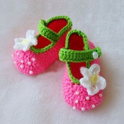 New Rose Pink with White Flower Lovely Handmade Crochet Baby Shoes