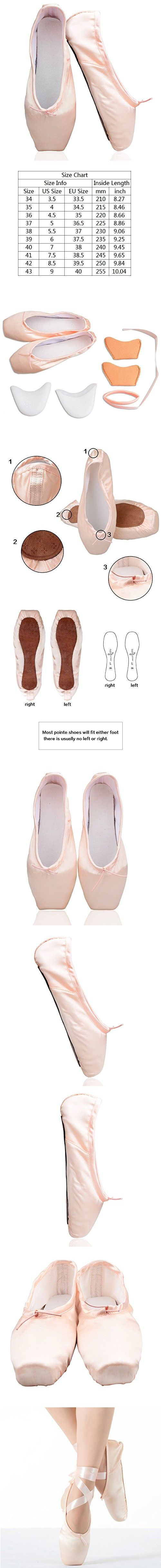 KUKOME New Pink Ballet Dance Toe Shoes Professional Ladies Satin Pointe Shoes (US 6; Inside Lenght 235mm=9.25inch)