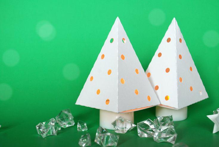 Alberi lanterna creati con la carta #paper #christmas #tree #DIY