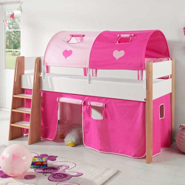 Cute Halbhochbett in Pink Wei Vorhang Set Jetzt bestellen unter https moebel ladendirekt de kinderzimmer betten hochbetten uid udd daa cf